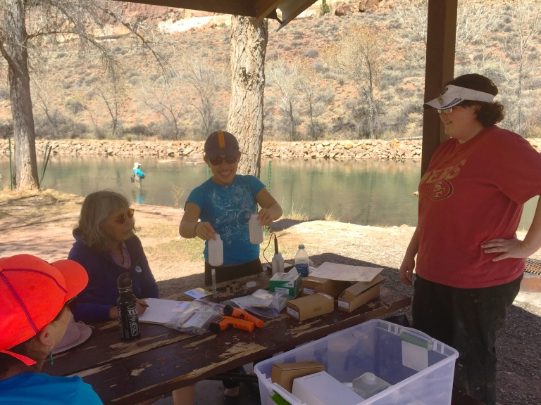 Dr. Linnell explains the chemistry of testing water quality.