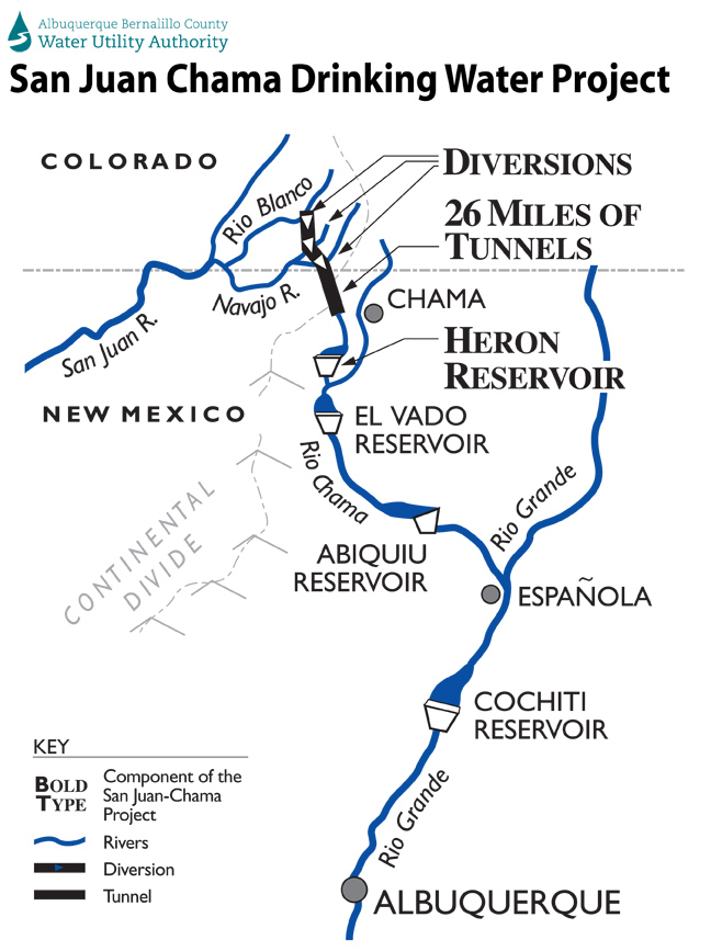 A map of the San Juan-Chama project.