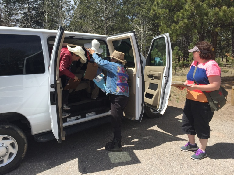 Piling out of the van at the Cerro Grande trailhead.