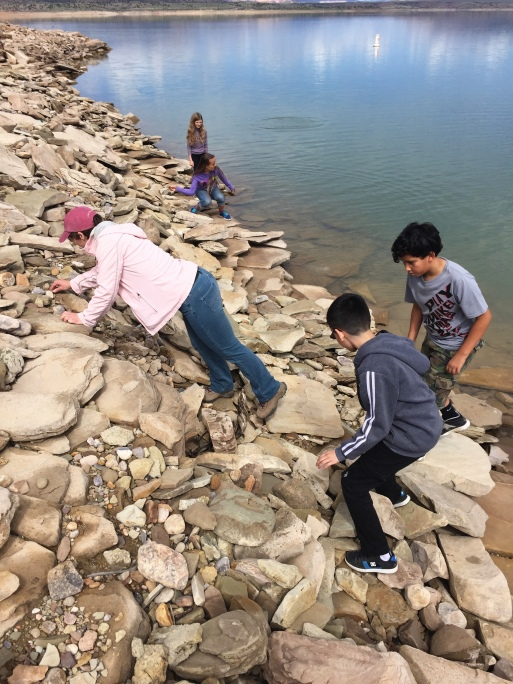 Students selecting the perfect rocks for skipping.