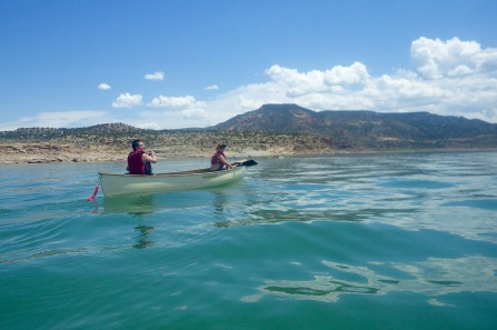 Canoeing across Abiquiu Lake.