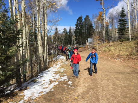 Students headed up the trail!